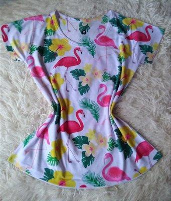 TShirt Feminina no Atacado Flamingos Flores Plantas