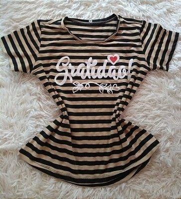 T-Shirt Feminina Para Revenda Gratidão Coração