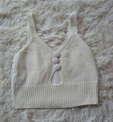Cropped Tricot Branco Botões