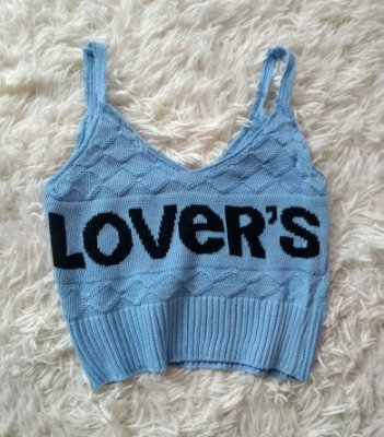 Cropped Tricot Lovers Azul