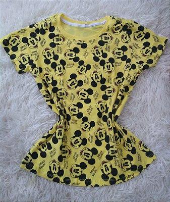 Blusinha Feminina Para Revenda Mickey Mouse Fundo Amarelo