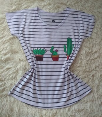 T-Shirt Feminina Para Revenda Cactos