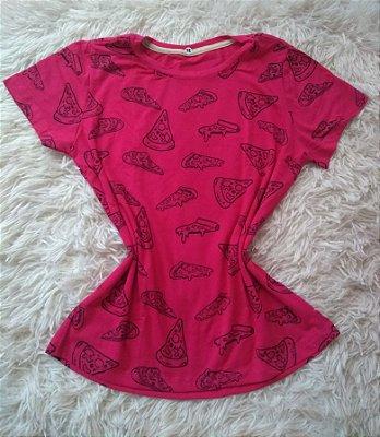 T-Shirt Feminina Para Revenda Pizza Fundo Rosa