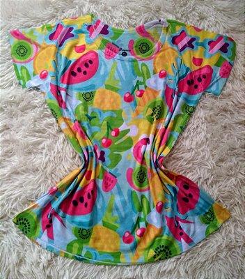 Blusinha Feminina no Atacado Frutas e Flamingos