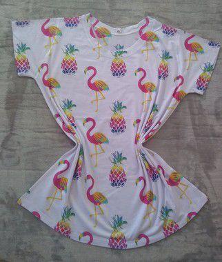 Tee Feminina Para Revenda Flamingos e Abacaxis Coloridos