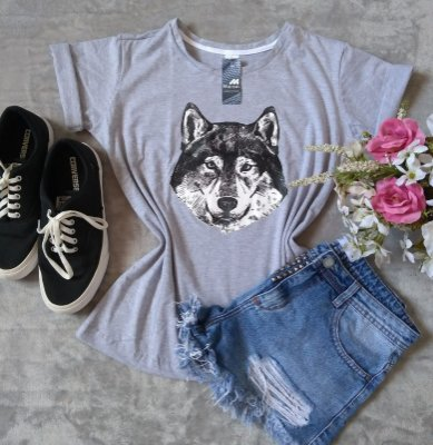 T-Shirt Feminina Para Revenda Lobo Rosto