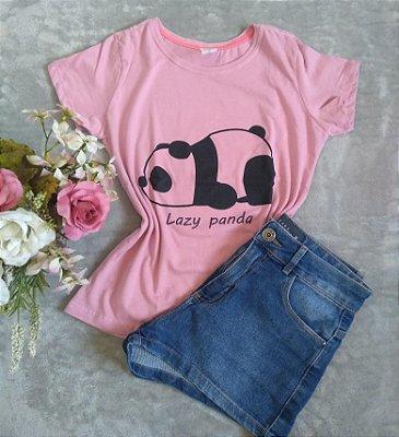 T-Shirt Feminina Para Revenda Lazy Panda