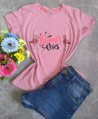 T-Shirt Feminina No Atacado Flamingos Summer Vibes