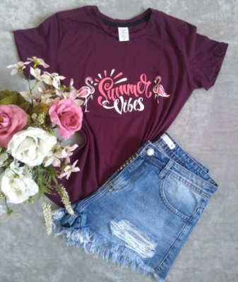 T Shirt Feminina No Atacado Flamingos Summer Vibes