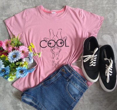 T Shirt Feminina no Atacado Girafa Cool