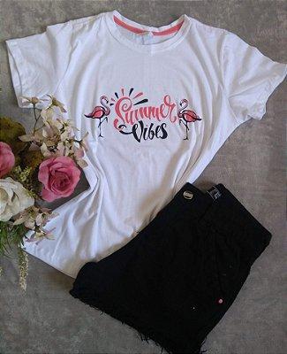 Blusinha Feminina No Atacado Flamingos Summer Vibes