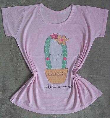 T-Shirt Feminina no Atacado Cacto Fofo