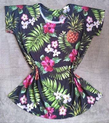 T-Shirt Feminina no Atacado Abacaxis e Plantas