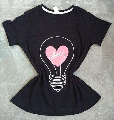 T-Shirt Feminina no Atacado Lâmpada Love