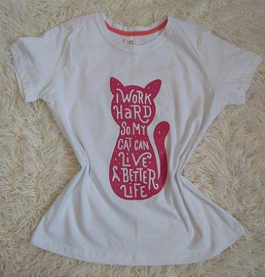 Tee Feminina Para Revenda Cat Work Hard