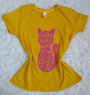 T Shirt Feminina Para Revenda Cat Work Hard
