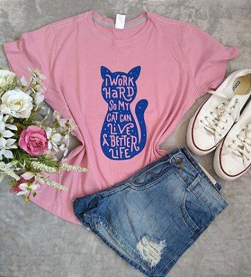 T-Shirt Feminina Para Revenda Cat Work Hard