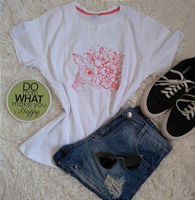 T-Shirt Feminina Para Revenda Coruja Flores