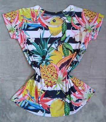 T-Shirt Feminina no Atacado Frutas e Listras