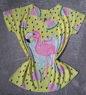 T-Shirt Feminina no Atacado Flamingo Grande e Melancias