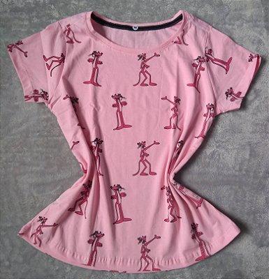 T Shirt Feminina no Atacado Pantera Cor de Rosa