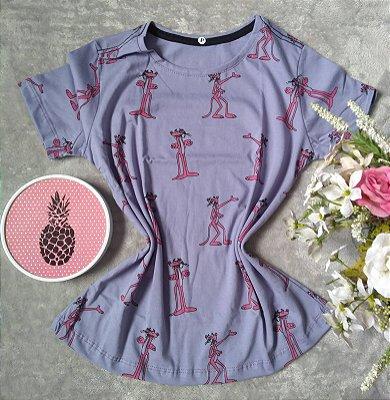 T-Shirt Feminina no Atacado Pantera Cor de Rosa