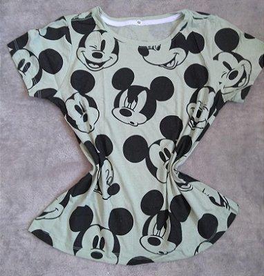 T-Shirt Feminina Para Revenda Mickey Rostos