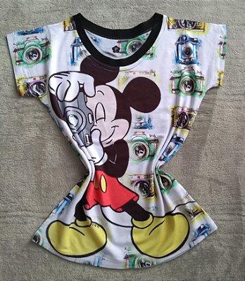 T-Shirt Feminina Para Revenda Mickey Câmera