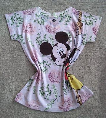 T-Shirt Feminina Para Revenda Mickey Corda Fundo Flores