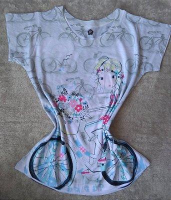 T Shirt Feminina Para Revenda Girl Bike Flores