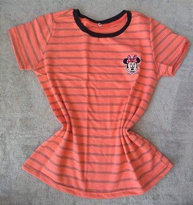 T-Shirt feminina no Atacado Minnie Fundo Listras
