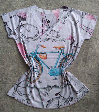 Blusinha Feminina no Atacado Bike Azul