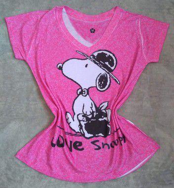 Tee Feminina No Atacado Love Snoopy