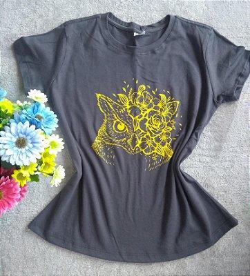 T-Shirt Feminina No Atacado Coruja Flores