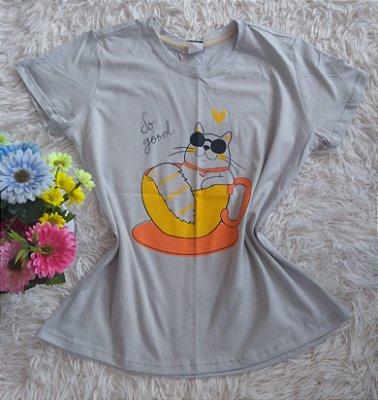 T-Shirt Feminina Para Revenda Cat Xícara