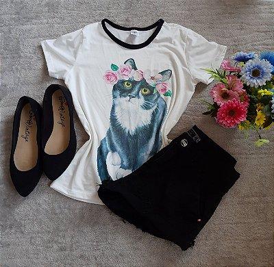 T Shirt Feminina no Atacado Cat Flores