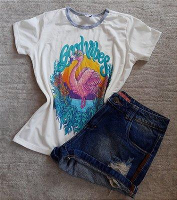 TShirt Feminina no Atacado Flamingo Good Vibes