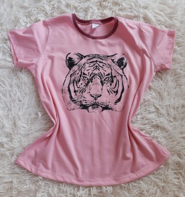 T shirt Feminina no Atacado Tigre Rosto