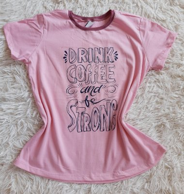 T Shirt Feminina No Atacado Drink Coffee