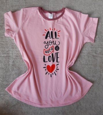 T-Shirt Feminina no Atacado All you need