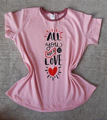 T-Shirt Feminina no Atacado All you need