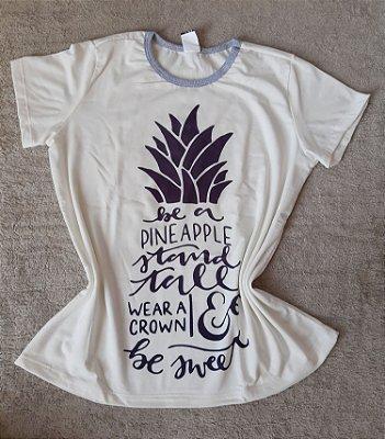 T-Shirt Feminina no Atacado Abacaxi Frase