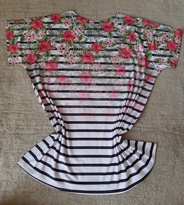Blusa Feminina Para Revenda Flores e Listras
