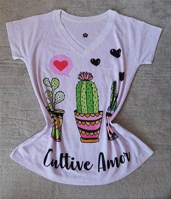 T-Shirt Feminina no Atacado Cactos Cultive o Amor
