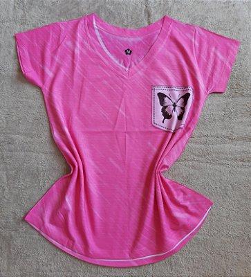 T-Shirt Feminina no Atacado Borboleta no Bolso