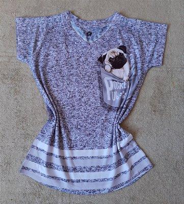 T-Shirt Feminina no Atacado Pug no Bolso