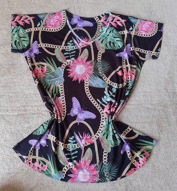 T-Shirt Feminina Para Revenda Flores e Correntes