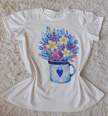 Tee Feminina no Atacado Vaso de Flores