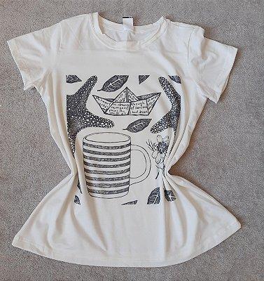 T-Shirt Feminina no Atacado Elementos Preto e Branco