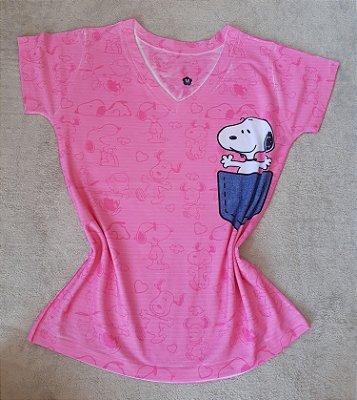 T-Shirt Feminina no Atacado Snoopy no Bolso